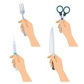 Hands hold metal fork, steel knife, medical syringe, office scissors.
