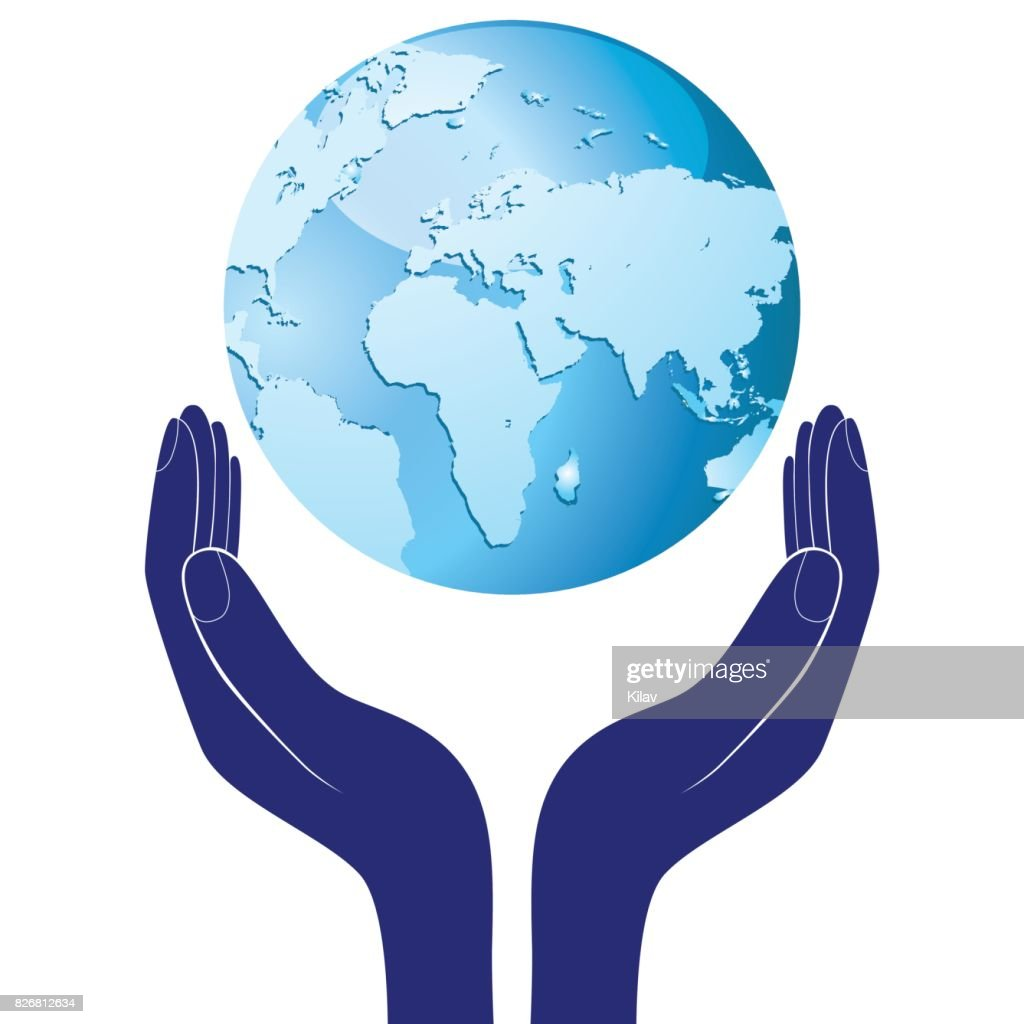 Hands holding a blue earth vector hope illustration. Save planet concept.