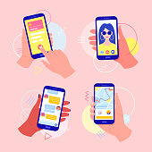 Hands holding a mobile phone with applications on the screen: online payment by card, video call, taxi call, chat in the messenger.