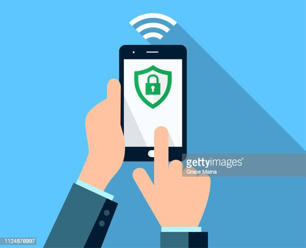 hands holding a secure smartphone after a successful financial transaction using wireless smartphone - fraud stock illustrations