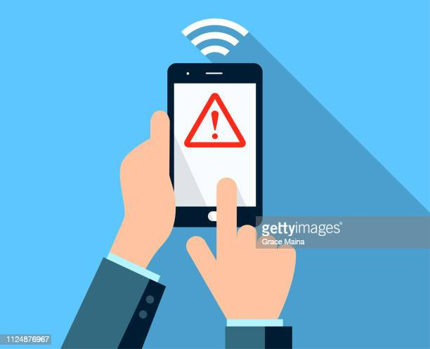 hands holding an unsecure smartphone after a financial transaction using wireless smartphone - corporate theft stock illustrations