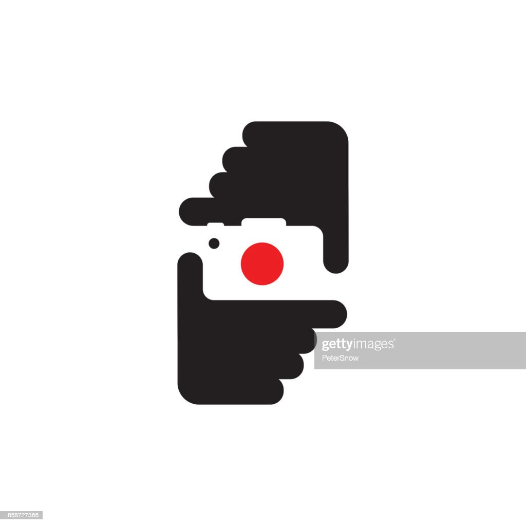 Hands holding camera. Editable vector in black and red