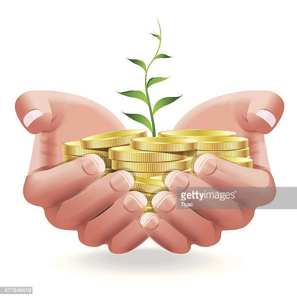 hands holding coins and plant - money tree stock illustrations, clip art, cartoons, & icons