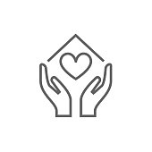 Hands holding house symbol with heart shape line icon