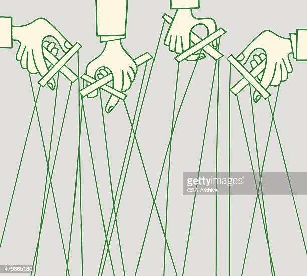 ilustraciones, imágenes clip art, dibujos animados e iconos de stock de hands holding marionettes - puppet