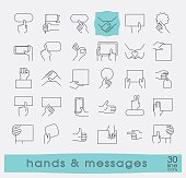 Hands holding messages. Hand gestures.