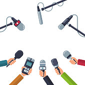 Hands holding microphones, press conference vector concept