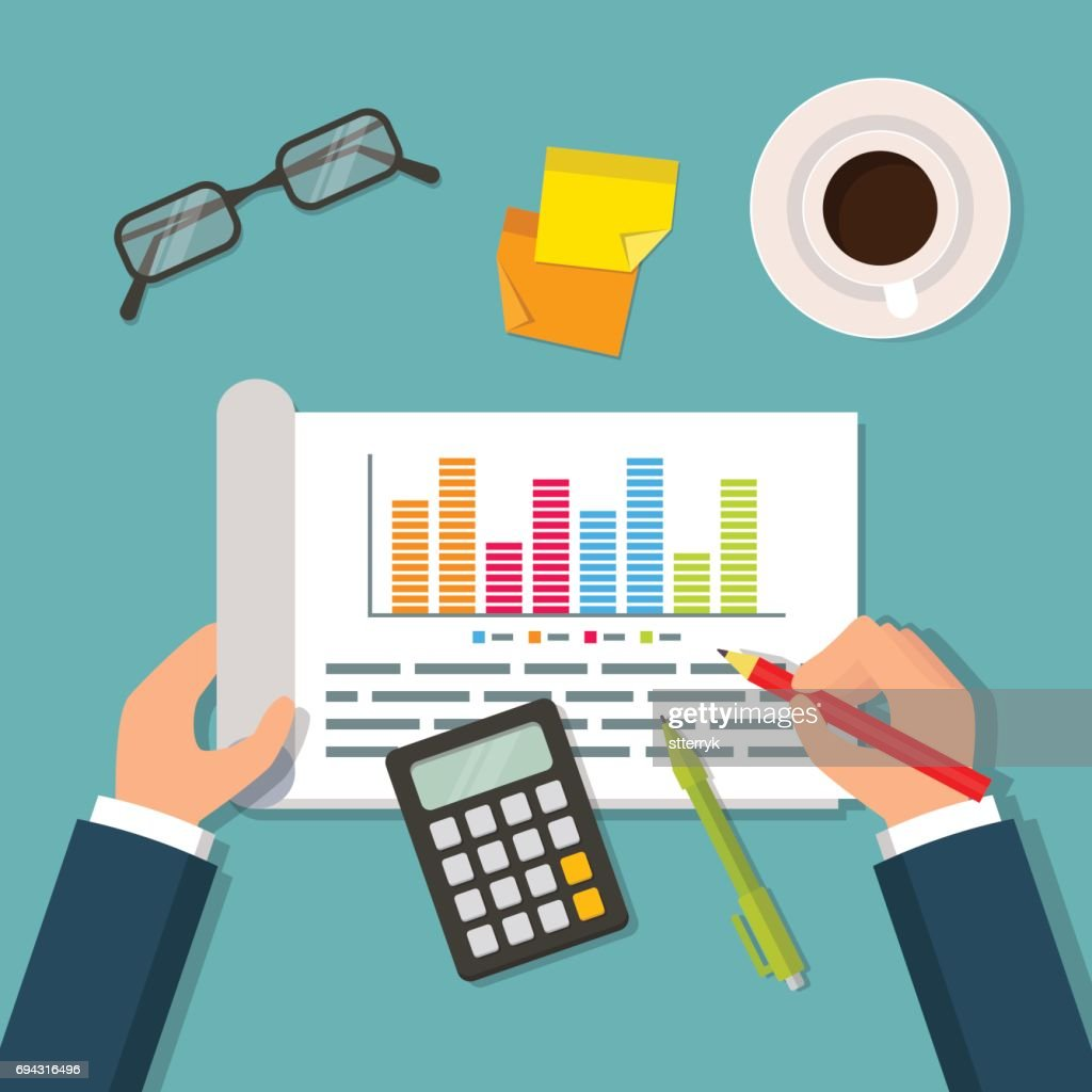 Hands holding open notebook with business plan data, charts and graphs. Business planning table with top view of office supplies, glasses, calculator and cup. Flat style vector illustration.