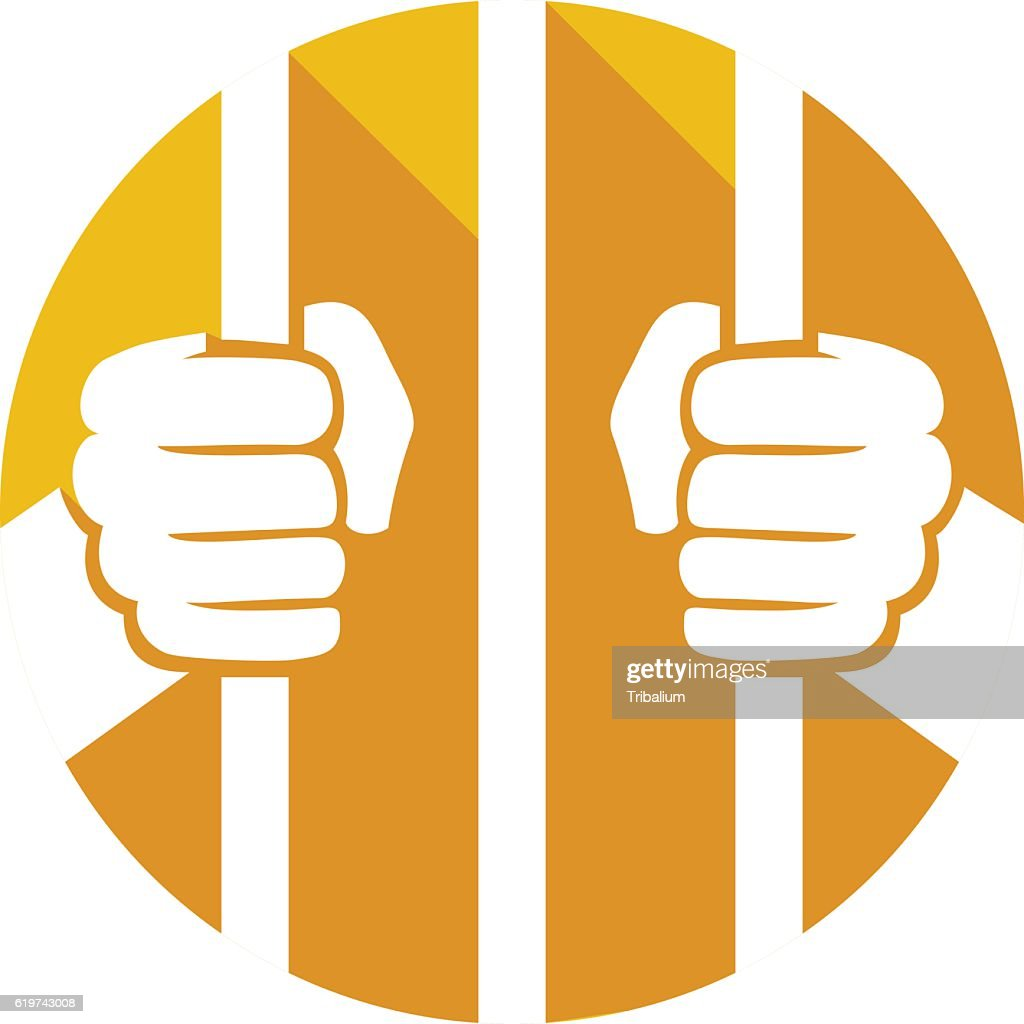 hands holding prison bars flat icon