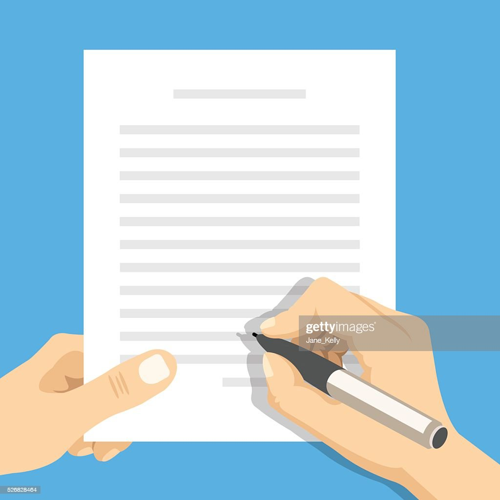 Hands holding sheet of paper and pen. Flat vector illustration