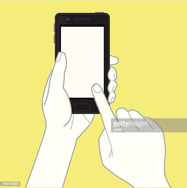 hand holding smartphone und berühren sie den bildschirm - halten stock-grafiken, -clipart, -cartoons und -symbole