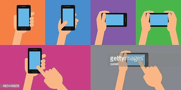 hands holding smartphone and touching the screen - holding stock illustrations, clip art, cartoons, & icons