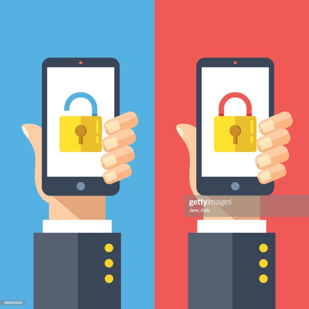 Hands holding smartphones with open and closed locks on screen. Locked and unlocked cell phones. Modern flat design graphic elements set. Vector illustration