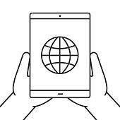 Hands holding tablet computer icon