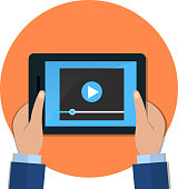 Hands holding tablet with video player on screen. flat illustration.