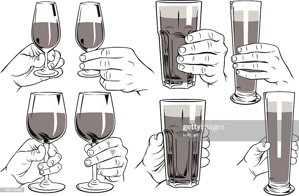 Hands holding various glasses