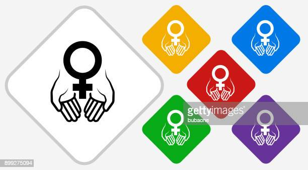 hands holding venus symbol color diamond vector icon - menopause stock illustrations, clip art, cartoons, & icons