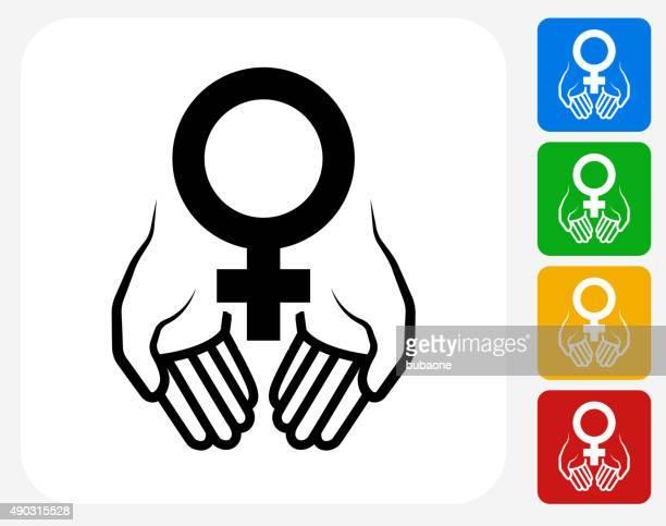 hands holding venus symbol icon flat graphic design - gynecological examination stock illustrations, clip art, cartoons, & icons