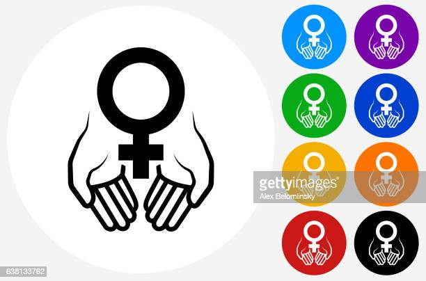 hands holding venus symbol icon on flat color circle buttons - menopause stock-grafiken, -clipart, -cartoons und -symbole