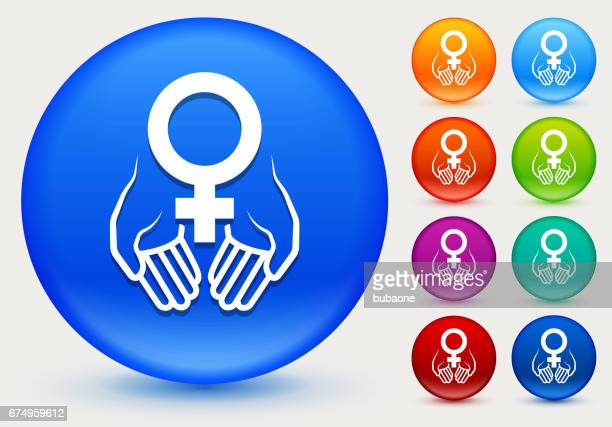 hands holding venus symbol icon on shiny color circle buttons - menopause stock illustrations, clip art, cartoons, & icons
