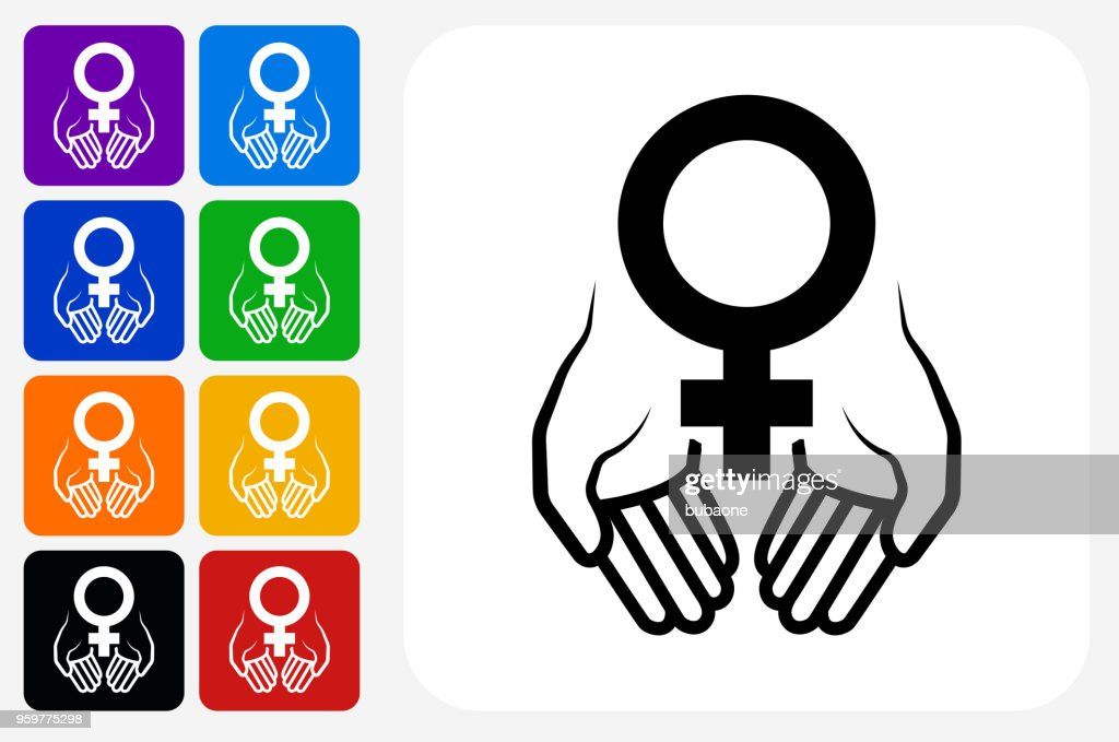 Hands Holding Venus Symbol Icon Square Button Set : stock illustration