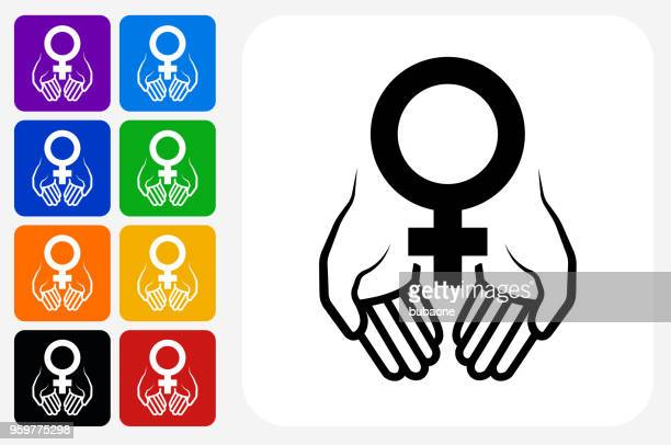 hands holding venus symbol icon square button set - menopause stock illustrations, clip art, cartoons, & icons