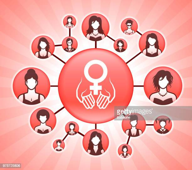hands holding venus  women's rights pink vector background - women's issues stock illustrations, clip art, cartoons, & icons