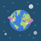 Hands hug earth globe