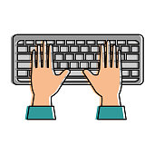 hands human with keyboard