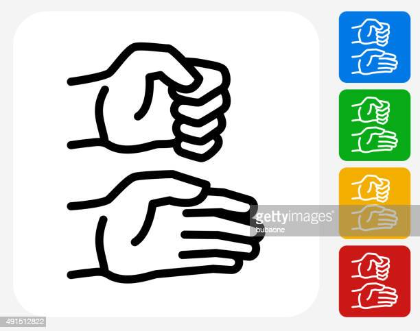 hands icon flat graphic design - closed stock illustrations, clip art, cartoons, & icons