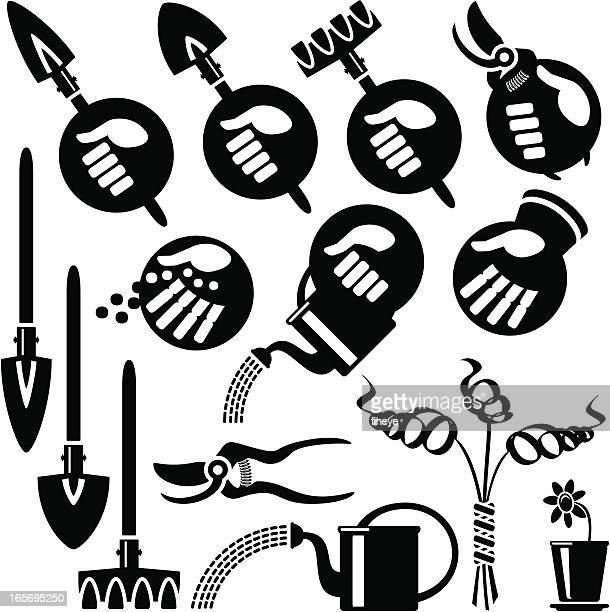 hands icons, gardening - pruning shears stock illustrations, clip art, cartoons, & icons