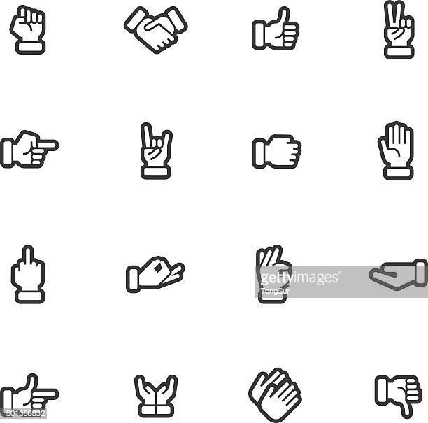 Mãos de contorno dos ícones normais