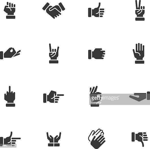 hands icons - regular - peace stock illustrations, clip art, cartoons, & icons