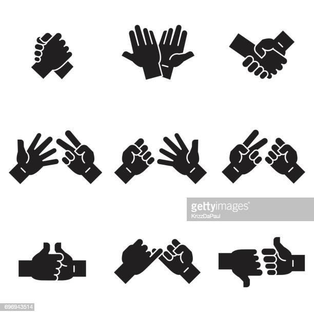 hände in aktionssymbole [black edition] - high five stock-grafiken, -clipart, -cartoons und -symbole