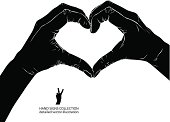 Hands in heart form, detailed black and white vector
