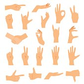 Hands in various gestures. Flat design modern vector