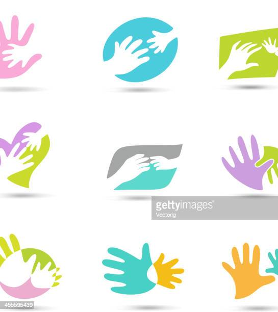 hands logo - kids hugging mom cartoon stock illustrations