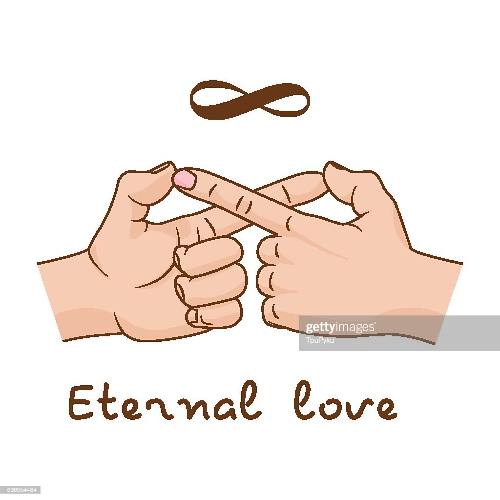 Hands Making Infinity Symbol Eternal Love And Friendship Vector