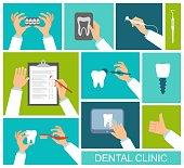 Hands of dentist
