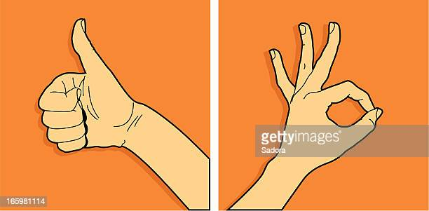 hands ok - ok sign stock illustrations