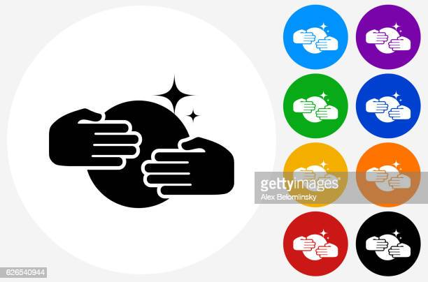 Hands Over  Crystal Ball Icon on Flat Color Circle Buttons