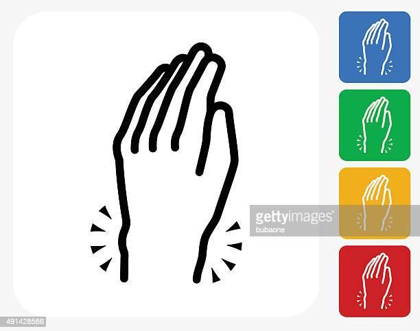 hands pain icon flat graphic design - wrist stock illustrations, clip art, cartoons, & icons