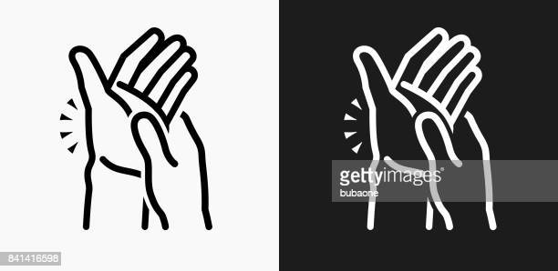 hands pain icon on black and white vector backgrounds - arthritis stock illustrations