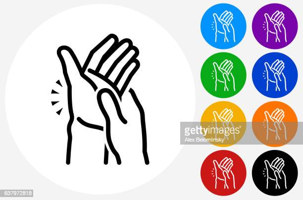 hands pain icon on flat color circle buttons - arthritis stock illustrations