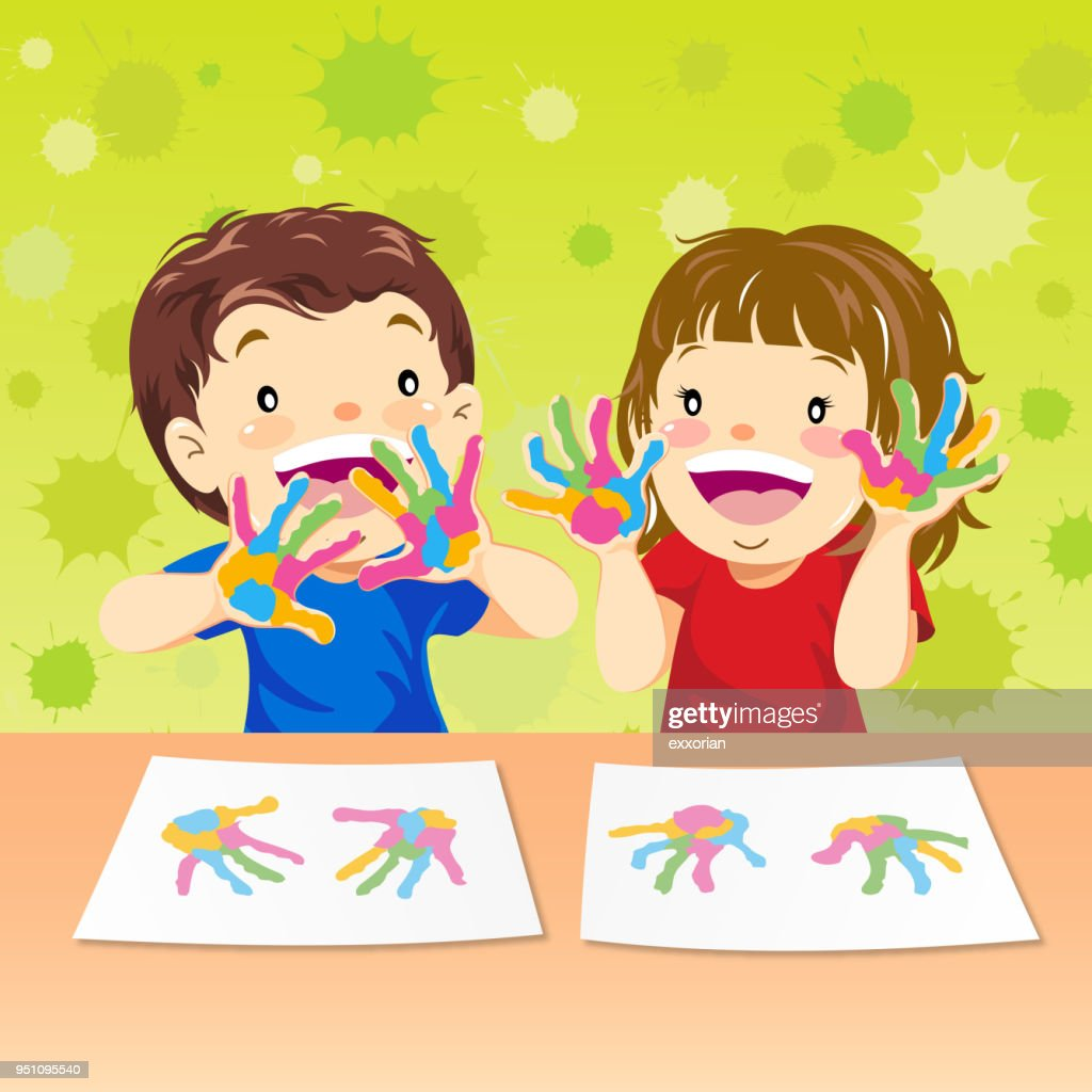 Hands Painting Of Kids Vector Art | Getty Images
