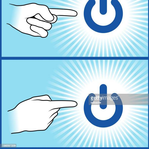 Hands Pointing to Power Button