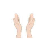 hands praying for help raised upwards