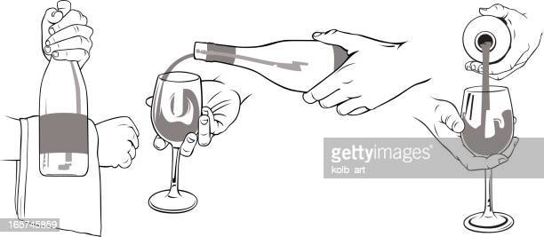 Hands presenting and pouring wine