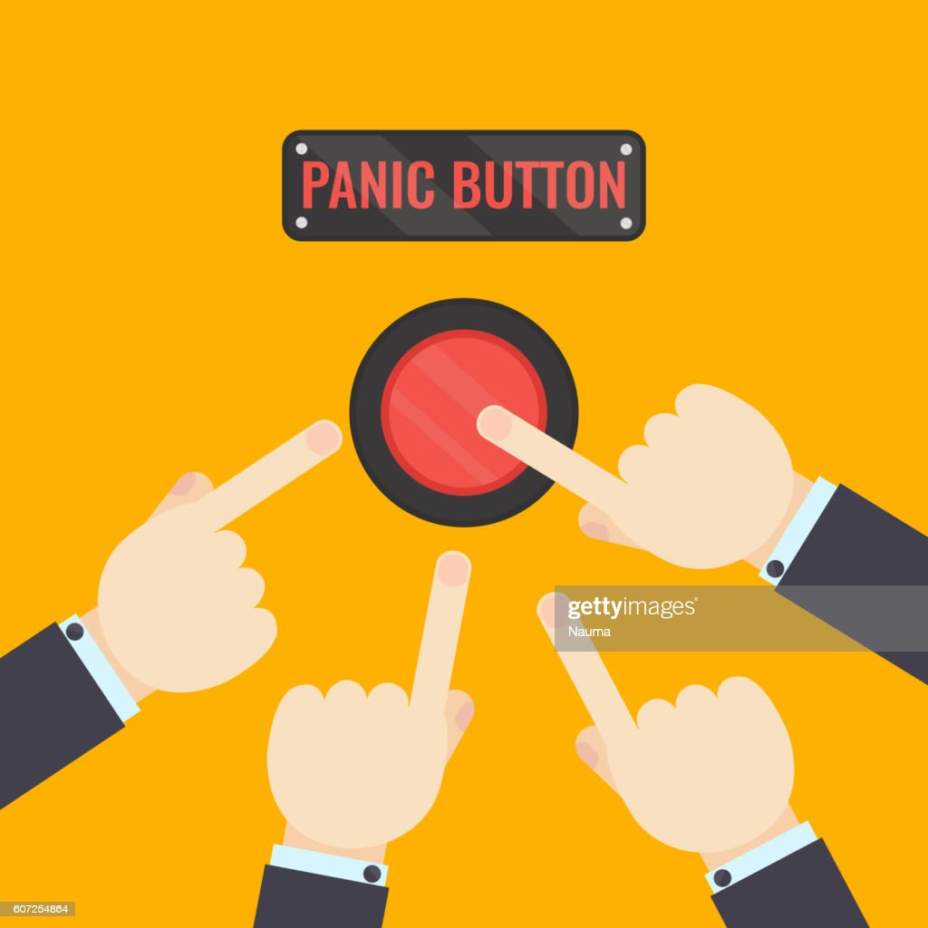 Hands pressing panic button