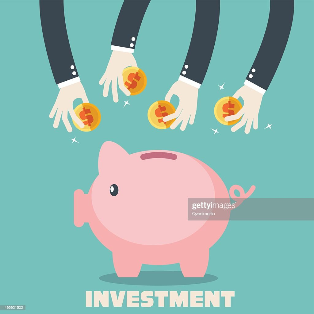 Hands putting coin into piggy-bank. Saving and investing money concept